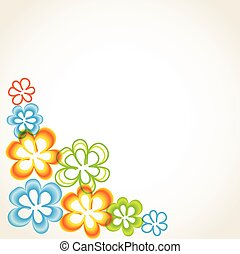 Bright greetings card with flowers and buttons - Bright...