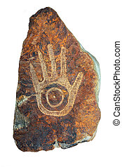 Tribal Hand Sandstone Carving - Old tribal hand sandstone...