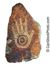 tribal, mano, arenisca, escultura