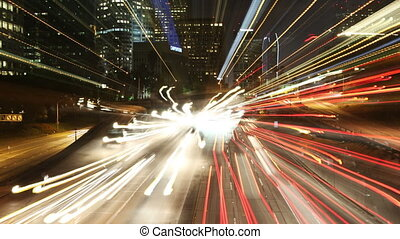abstract timelapse of traffic on freeway in downtown los angeles
