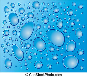 blue drops on the glass