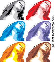 woman heads in different colors isolated on the white...