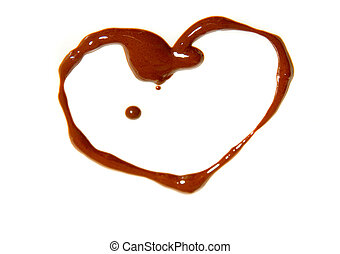 Chocolate heart - Heart drawing with chocolate on white...