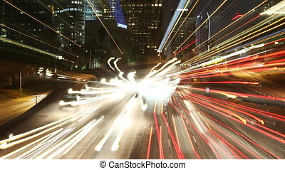 abstract timelapse of traffic on freeway in downtown los...