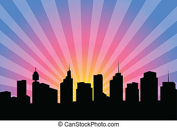 silhouette modern city - Illustration of a silhouette modern...