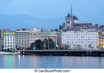 General view of Geneva - The city of Geneva and the Leman...