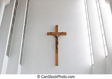 Jesus on a cross in the church