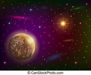 Space background with planet and sun - Fantastic space...