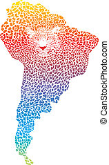 Abstract Jaguar on the map of South - Abstract illustration...