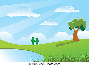 Two people and tree on grasses