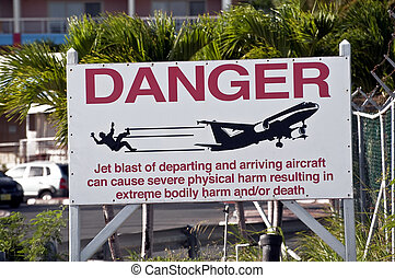 Jet blast danger sign - Road warning sign, airport jet blast...