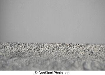 Gray Carpet Side View. Fluffy textile texture. Clean...