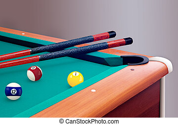 Green billiard table with balls and cues