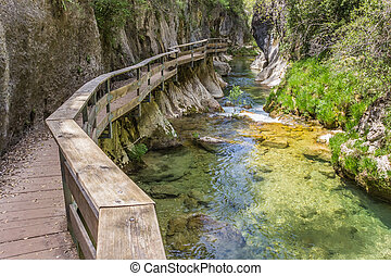 Board walk through Cerrada de Elias gorge in Cazorla...