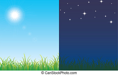 Day and night scene on the fresh meadow