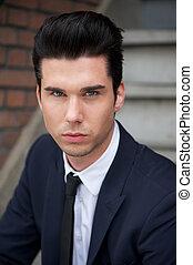 Portrait of a handsome young businessman - Close up portrait...