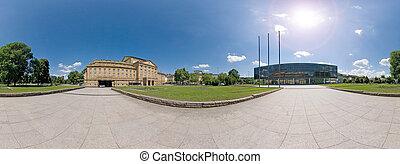 Stuttgart, parliamant and opera panorama - Panorama of the...