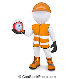 3d man holding a alarm clock - 3d white man in overalls...