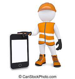 3d white man in overalls holding a smartphone. Isolated...