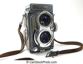 Old camera - Vintage camera isolated on white