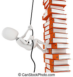 3d man businessman climbing a pile of documents