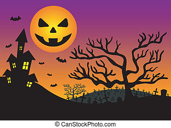 Halloween invitation with haunted house and moon