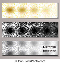 Set of banners with shiny metallic paillettes. Silver,...