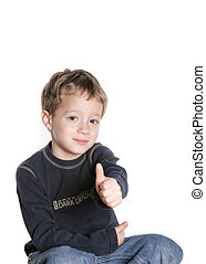 Thumbs up - 4 year old boy giving a thumbs up