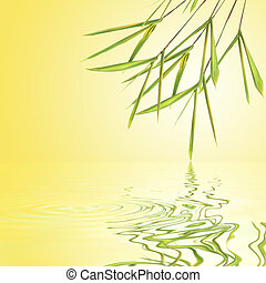 Bamboo Leaf Grass Beauty - Bamboo grass over golden yellow...