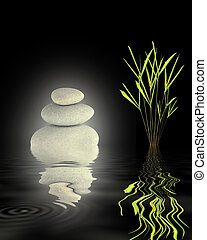 Zen Stability - Zen abstract of glowing grey spa stones and...