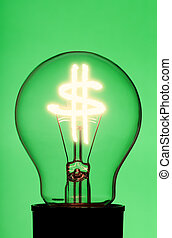light bulb with glowing dollar symbol