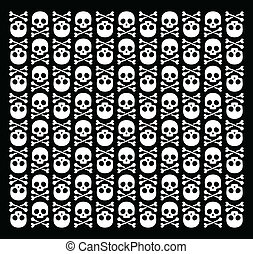 Roger 2 - Vector skull pattern on black background