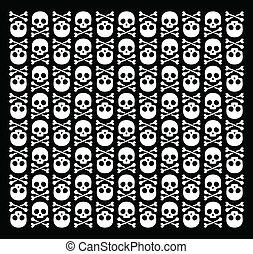 Roger 2 - Vector skull pattern on black background