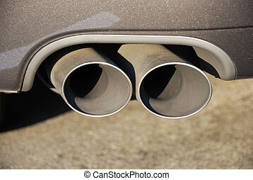 Muffler Detail - close-up of a dual muffler