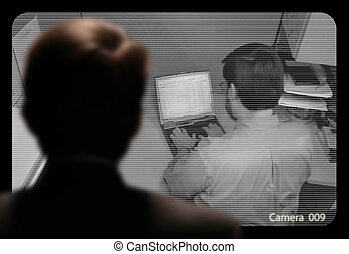 Man observing an employee work via a closed-circuit video...