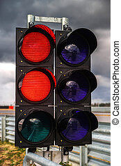 Traffic light on race track for Formula competition