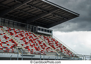 Giant tribune with colorized seats on Formula 1 track