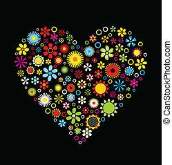 Flowers Heart on black background Vector Illustration