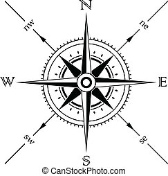 Compass - Vector wind rose compass silhouette