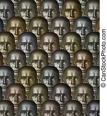 Metallic robot androids one with human eyes - Rows of...