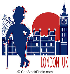 Gentleman in black bowler hat and cane on London background.