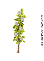 money growing on tree - small miniature tree growing silver...