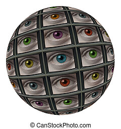 Sphere of screens with multi-colored eyes - Sphere of video...