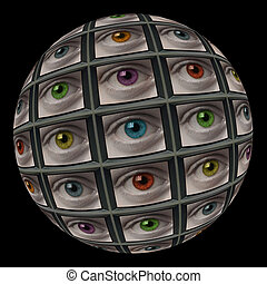 Sphere of video screens showing multi-colored eyes On black...