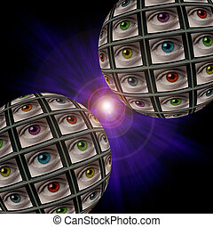 Two sphere of video screens showing multi-colored eyes, in a...