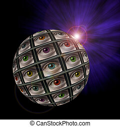 Sphere of video screens showing multi-colored eyes with an...