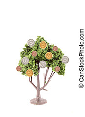 money growing on tree - small miniature tree growing copper...