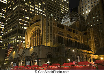 Saint Bartholomew's Episcopal Church New York City Nighttime...