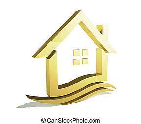 Gold House with gold swoosh