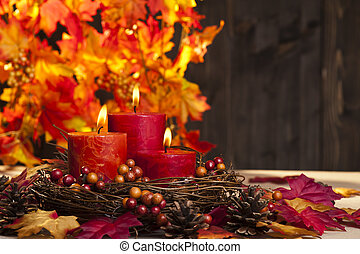 Autumn candles - Candles in nice and beautiful colorful...